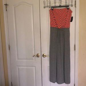 A.n.a strapless tube drawstring waist maxi dress